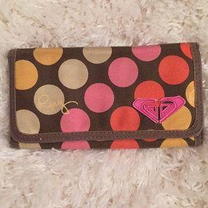 Roxy Multi Color Polka Dot Canvas Wallet